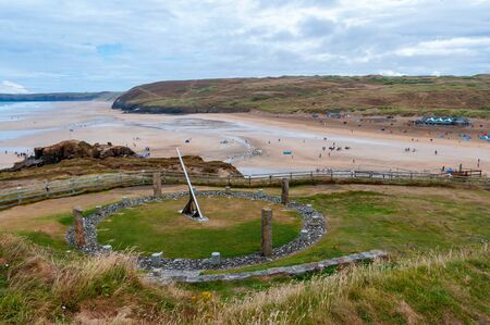 The Millennium Sundial overlooking the beach at Perranporth, Cornwall.