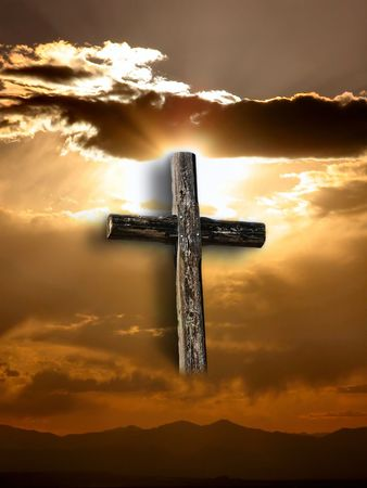 jesus blood:           Rugged cross under rays of sunshine through clouds.