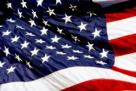 saturated: Close-up of an American Flag Billowing in the Wind - Radiant Whites, Color Saturated, Shallow Focus)