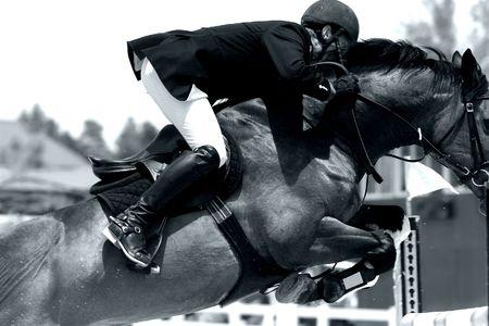 Potenza equitazione in azione - Jumping Close-up (BW Image) Archivio Fotografico - 833971