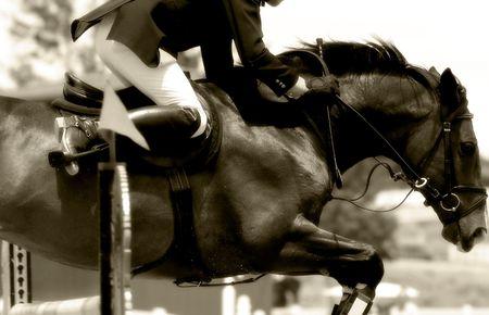 cavallo che salta: Equitazione in azione Power # 2 - Jumping Close-up (Sepia Tone, Soft Focus)