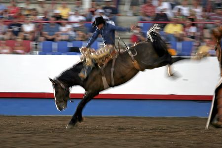 Slow Shutter Speed Night Rodeo Rider photo