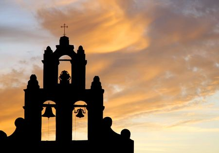 Mission Bell Tower Against a Sunset Sky (silhouette) photo