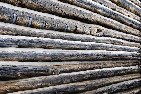 Antigua muralla exterior madera de una granja de auténtico, vintage del siglo XIX.  Foto de archivo - 5852547