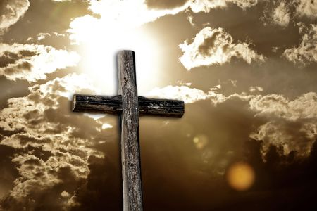 Rugged Cross, Bright Sun and Clouds (sepia) Stock Photo - 6736898