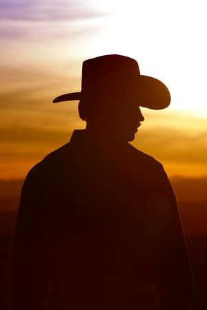 shadow: Cowboy silhouette against a sunset sky Stock Photo
