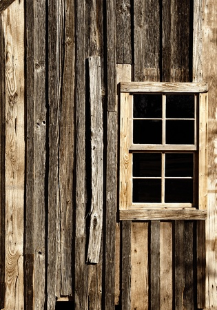 Vintage Wall and Window in American West Stock Photo