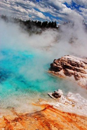 Geyser beauty at Yellowstone National Park Stock Photo