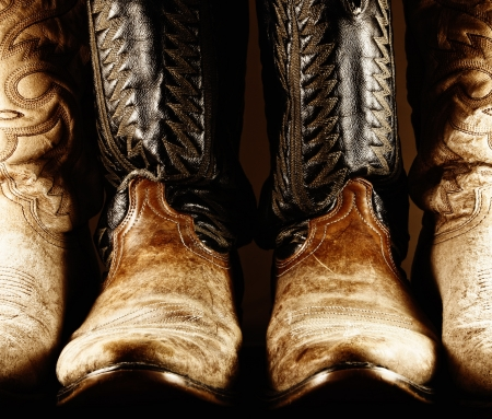 cowboy boots: Old Cowboy Boots in High Contrast Light