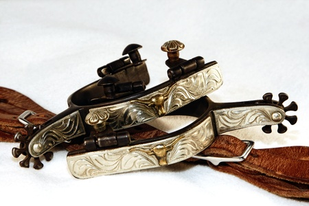 Western Silver Spurs and Spur Leathers