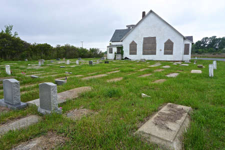 John Wesley United Methodist Church and graveyard on Deal Island, Maryland. The church was once a cornerstone of the African American community on the island.
