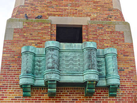 Jones Beach State Park, New York: Copper balcony of the West Bathhouse at Jones Beach. Art Deco inspired motifs are combined with Beaux Arts architectural design.