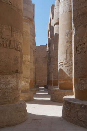 Luxor, Egypt: Columns covered with hieroglyphs at the Temple of Amun at the Karnak Temple complex. Stock fotó