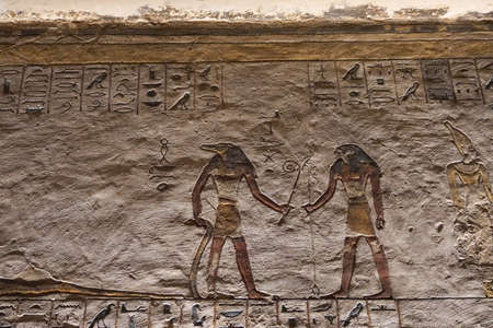 Luxor, Egypt: Detail of artwork in Tomb KV11, the burial place of pharaoh Rameses III in the Valley of the Kings, on the West Bank of the Nile River. Stock fotó
