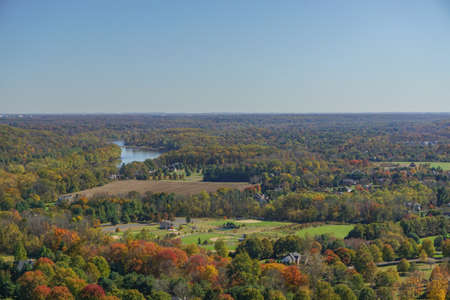 Washington Crossing, PA: View of the Delaware River and Pennsylvania countryside from Bowmans Hill Tower in Washington Crossing Historic Park.