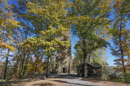Washington Crossing, PA: Bowmans Hill Tower (1931), in Washington Crossing Historic Park, was built of native stone from nearby stone fences.