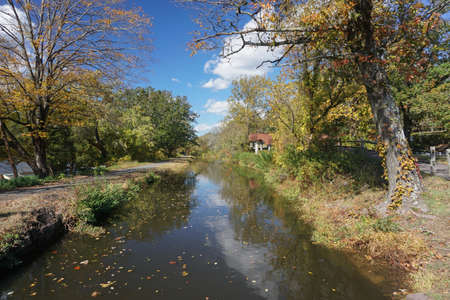 Washington Crossing, NJ: The Delaware Canal Towpath, a National Recreation Trail, runs along a 19th-century canal built to transport coal from the Upper Lehigh Valley to Philadelphia. Stock fotó