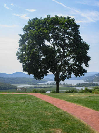 Garrison, New York, USA: View of the Hudson River from the grounds of Boscobel, an historic 19th-century house.