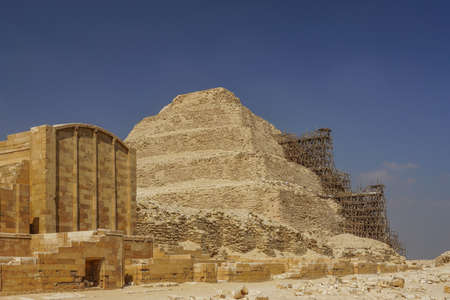 Saqqara, Egypt: The funerary complex of Djoser and the step pyramid, undergoing renovation.