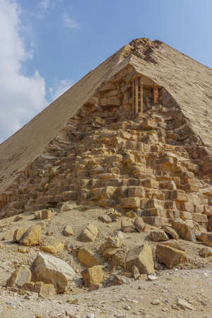 Dahshur, Egypt: A corner of the Bent Pyramid, built under the Old Kingdom Pharaoh Sneferu (c. 2600 BC).