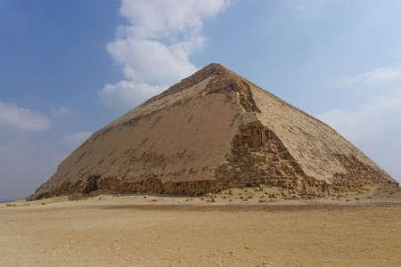 Dahshur, Egypt: The Bent Pyramid, built under the Old Kingdom Pharaoh Sneferu (c. 2600 BC).