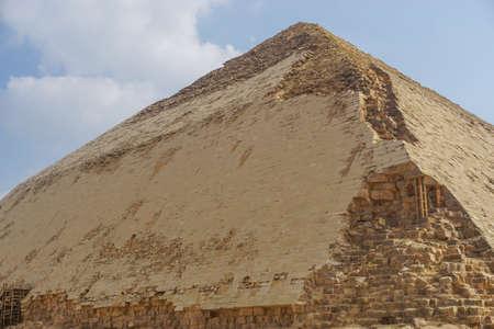 Dahshur, Egypt: A closeup view of the Bent Pyramid, built under the Old Kingdom Pharaoh Sneferu (c. 2600 BC).