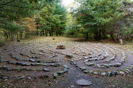 Bangor, Pennsylvania: Labrynth of stones at Columcille Megalith Park, a non-profit park rooted in Celtic spirituality on the Kittatinny Ridge of the Appalachian Mountains.