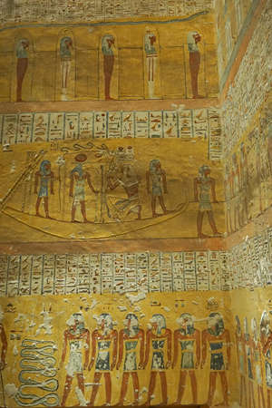 Luxor, Egypt: Detail of artwork in Tomb KV2, the burial place of pharaoh Rameses IV in the Valley of the Kings, on the West Bank of the Nile River. Sajtókép