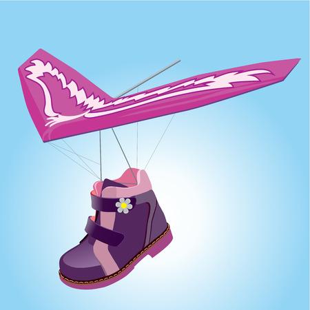 glider: Purple boot, stylized as a glider