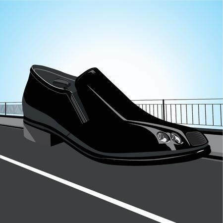 black shoe: Black shoe, stylized as a car