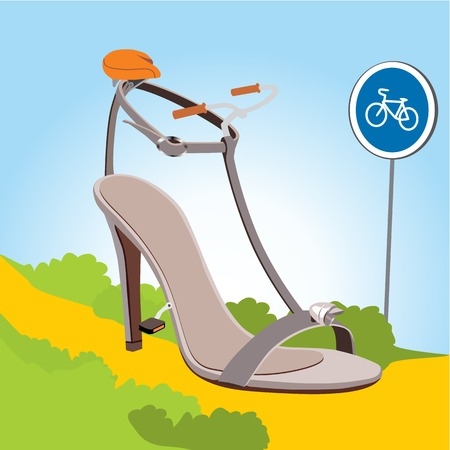 high heeled: Women heel sandals in form the bicycle on light background.