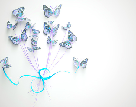 Womens day design, greeting card with March 8 and butterfly