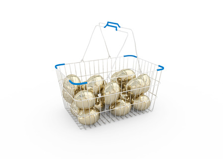 shoping: Golden eggs in a metal shoping basket isolated on white background