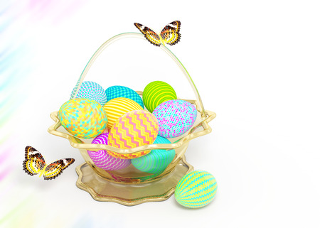 yellow butterflies: Basket with colorful Easter eggs and yellow butterflies on white background Stock Photo