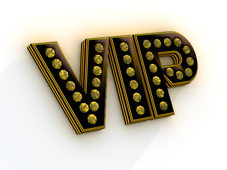 inlaid: Black letters VIP inlaid with precious stones yellow on a white background