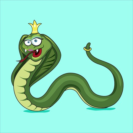 cartoon snake: Funny cartoon green snake with a golden crown and a ring on the tail Illustration