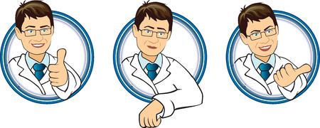 white coat: Three different character cartoon dentist  in white coat Illustration