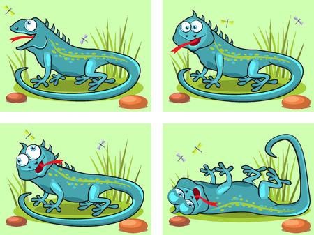 sweet grass: Four frame animation funny cartoon lizards