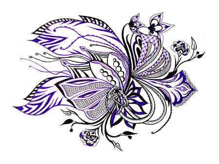 batik pattern: Bright seamless pattern violet flowers fancy image