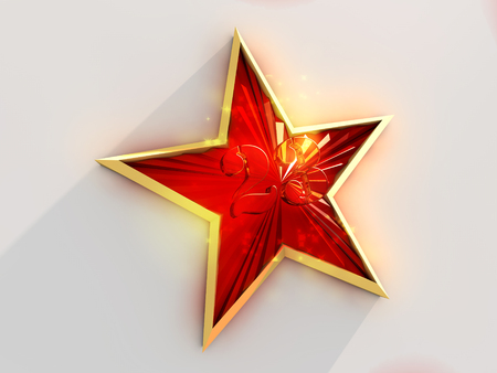 february: Red and gold star with number 23 on white background . Stock Photo