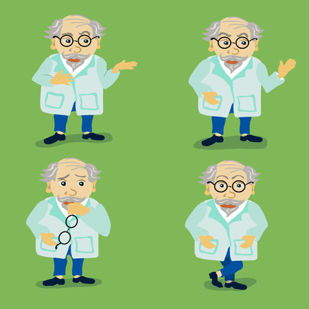 white coat: Four different character cartoon dentist in white coat