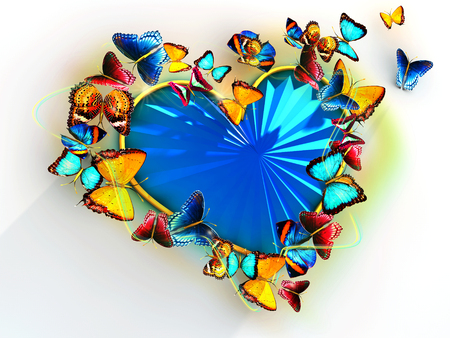 to flit: Multicolored butterflies flit around the heart as a precious blue stone. For Valentines Day. Stock Photo