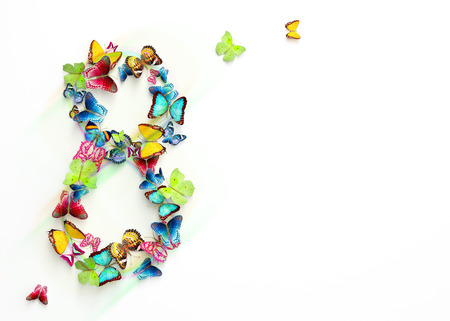 personas saludandose: Para mujer del dise�o del d�a, tarjeta de felicitaci�n con 8 de marzo y mariposas