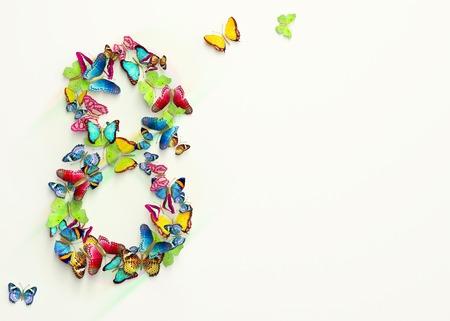 Womens dag ontwerp, wenskaart met 8 maart en vlinders