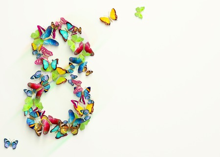 Womens day design, greeting card with March 8 and butterflies