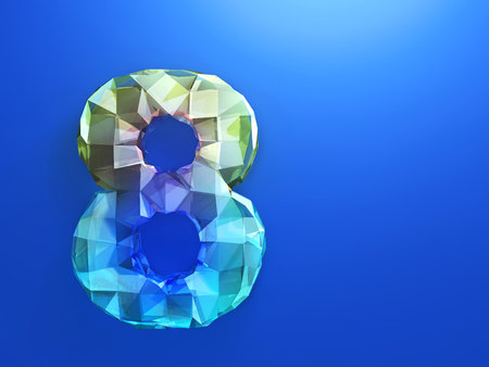 cipher: Yellow- blue eight as precious Cristal on the blue background Stock Photo