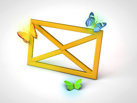 opening up: A letter or email is opening up with colorful buterflies. Use it for a newsletter or mail icon.