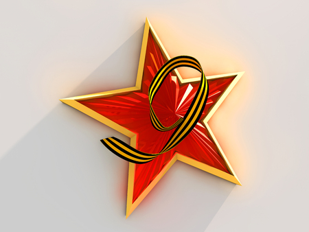 war decoration: Red star tied with Saint George ribbon on white background.