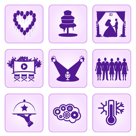 openair: Set of wedding icons purple color on a pink background