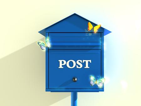 mariposas amarillas: Correo cuadro azul con mariposas amarillas. representación 3D.